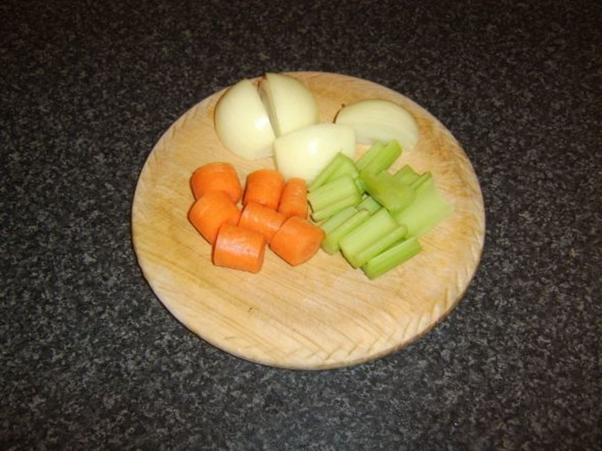 Prepared vegetables for beef stock