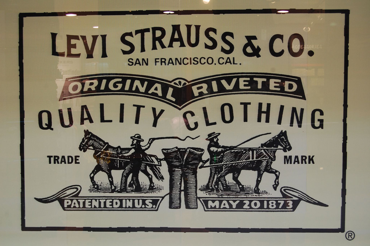 Levi's famous horse brand label  shows the strength of the pants