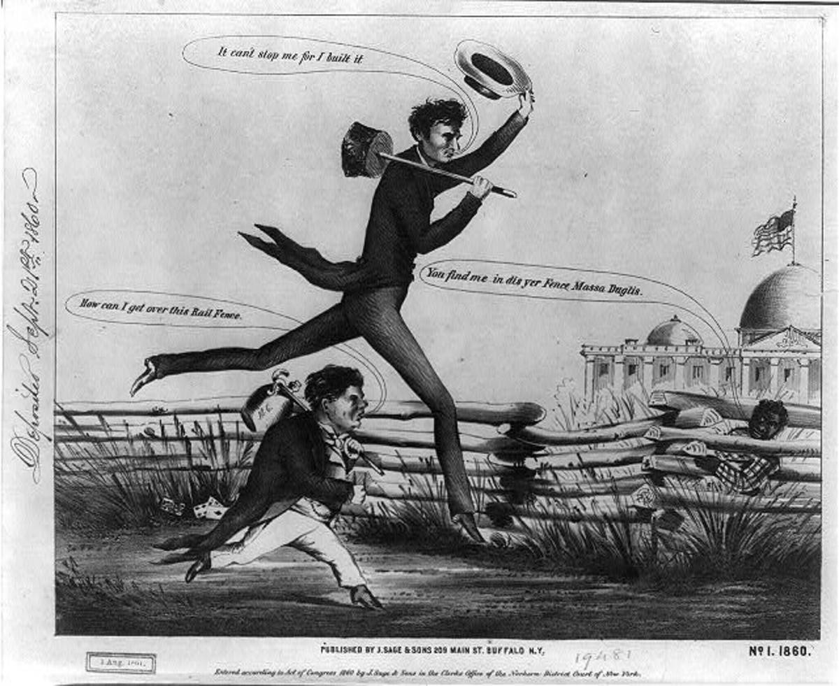 "Political cartoon featuring Lincoln and political opponent Stephen Douglas. The lanky ""railsplitter "" was often cruelly satirized during his political career."