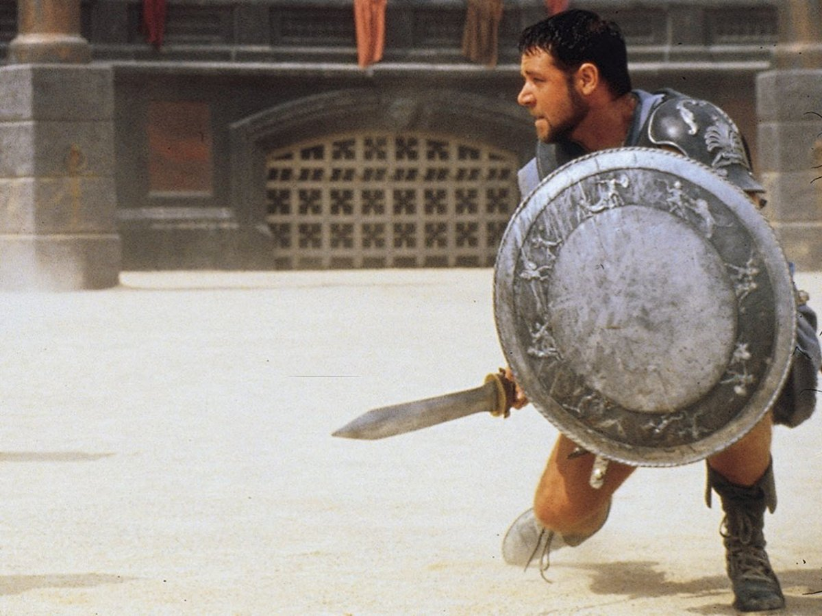 "Russell Crowe as Maximus in ""Gladiator"""