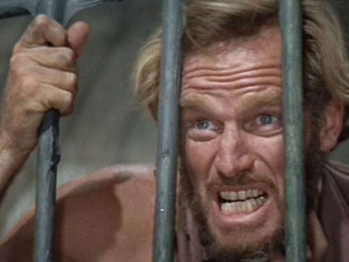 "Charlton Heston in ""Planet of the Apes."""