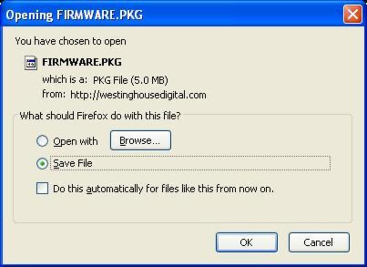 The firmware update will be a PKG file, likely named firmware.pkg.