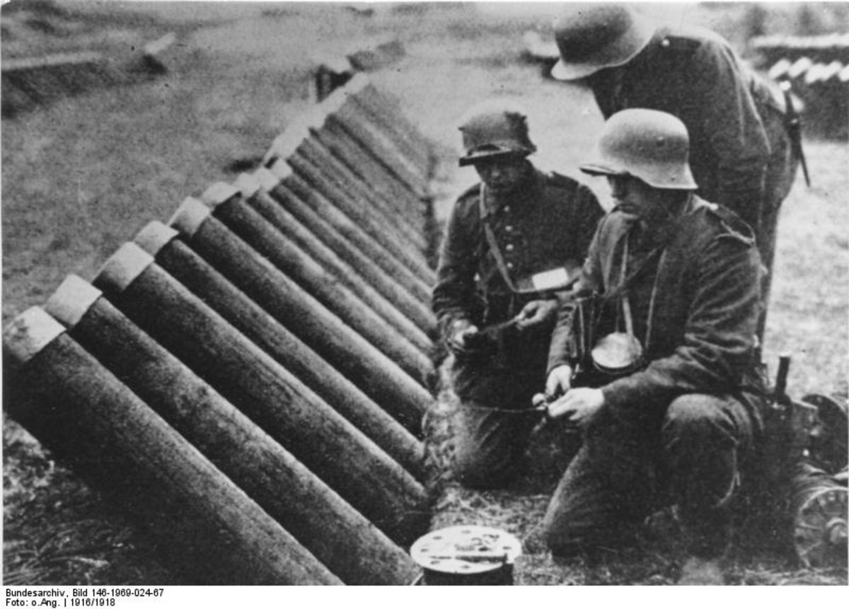 "1916, german western front, 18cm calibre ""Gaswerfer"" are prepared. Mortar-like devices to throw containers with poisonous gas into enemy positions."