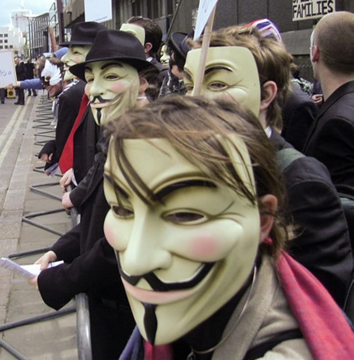Protesters in London, 2008.