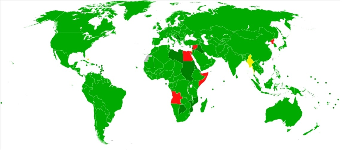 Participation in the Chemical Weapons Convention as of March 27, 2009: Signed and ratified - lt green; Acceding or succeeding - dk green; Only signed - yellow; Non-signatory - red.