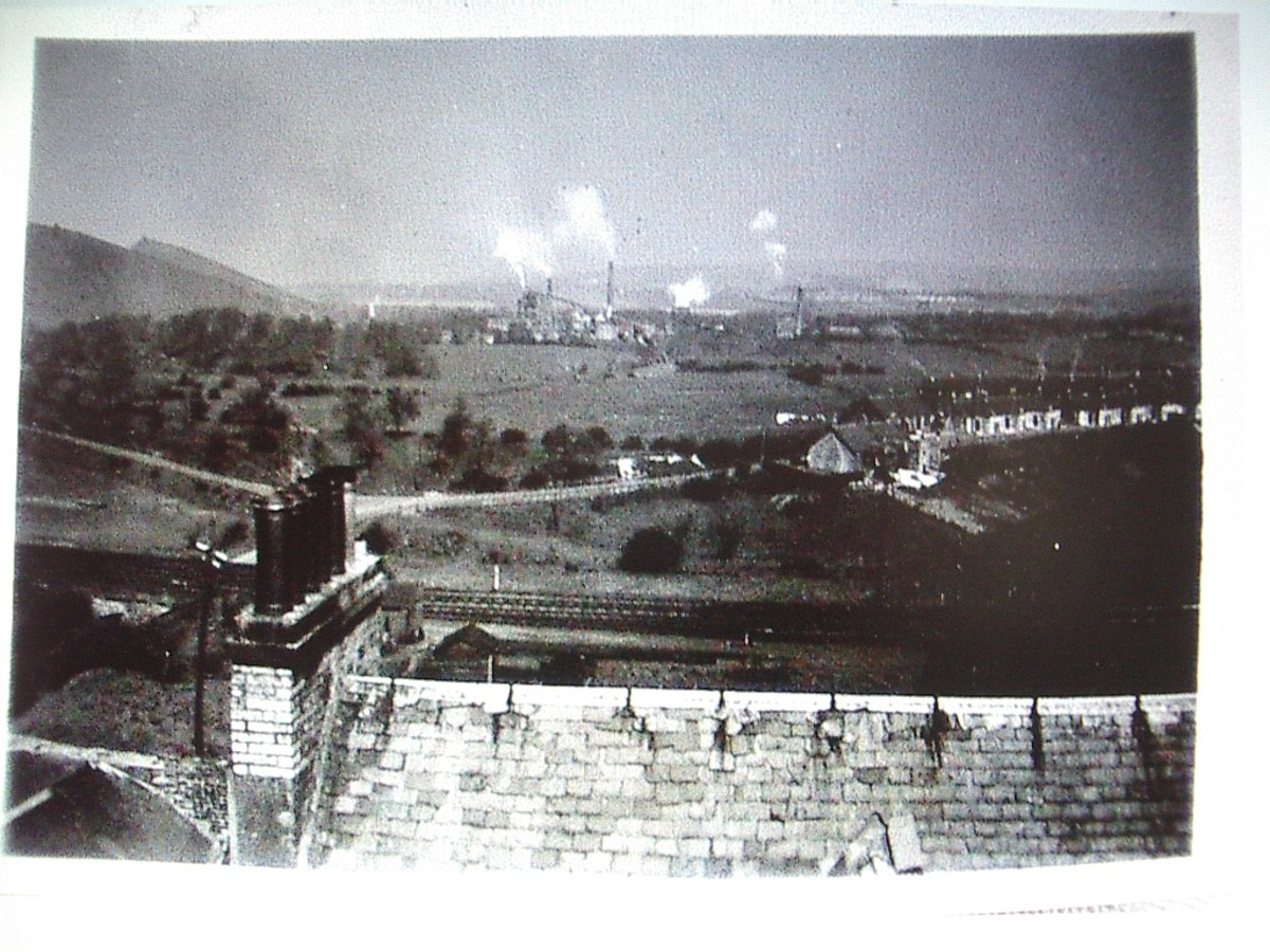 Photograph from Thistle Tower, showing Mossend, Westwood Works, and the Five Sisters