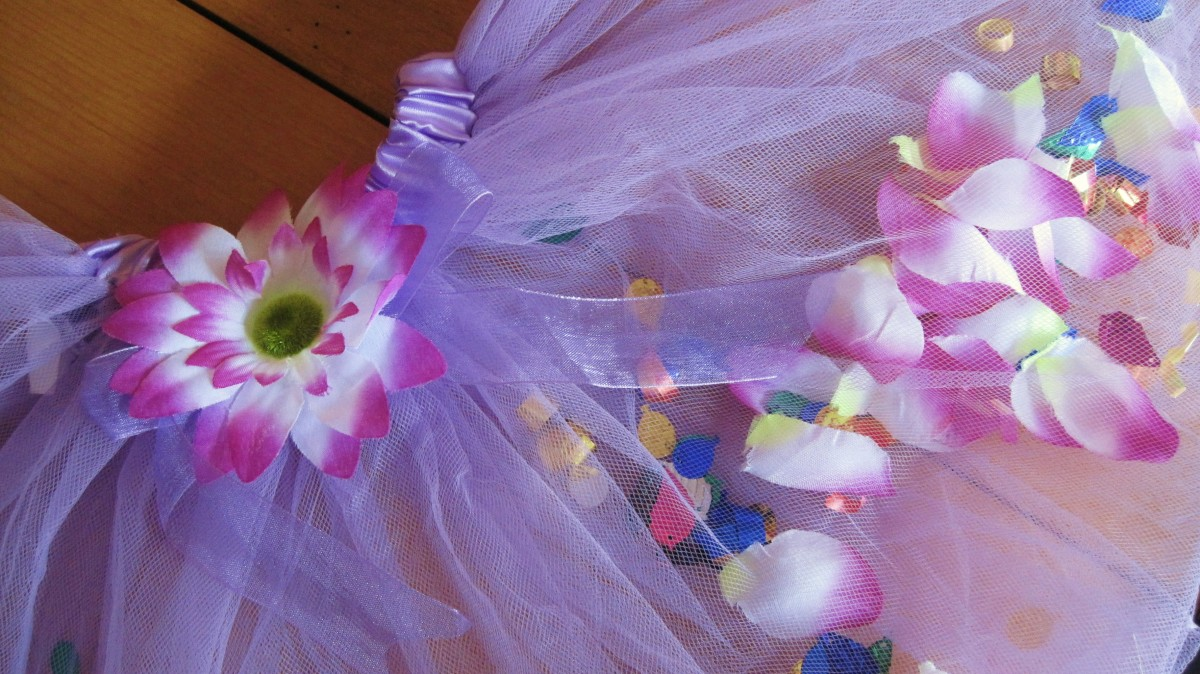 How to Make a Rose Petal / Flower Filled Tutu (Sewing and Non Sewing Directions)
