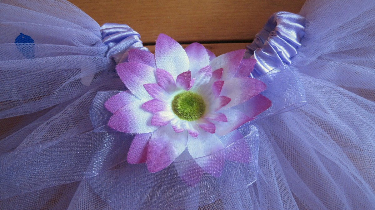 Flower and ribbon embellishment on tutu
