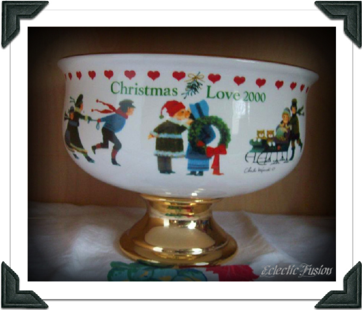 One of the last Christmas presents my mother ever gave to me. She didn't fill it with flowers, but with Andes Creme de Menthe and Andes Cherry Jubilee mints. That bowl was full!