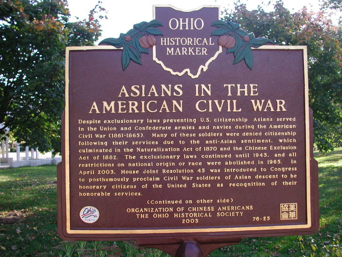 Despite exclusionary laws preventing U.S. citizenship, Asians served in the Union and Confederate armies and navies during the American Civil War (1861-1865).