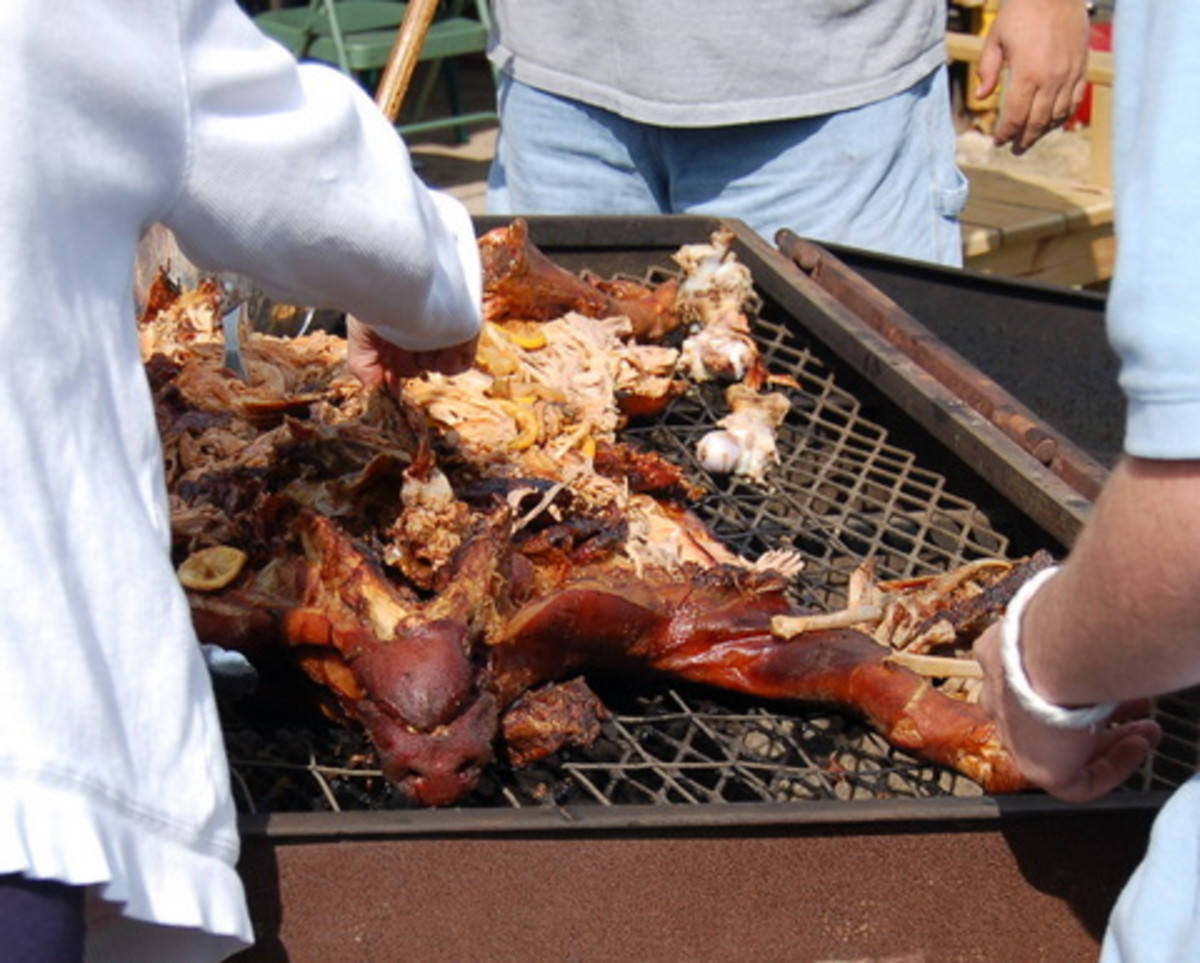 In this photo is a whole barbecued pig. Cooked right they are wonderful.