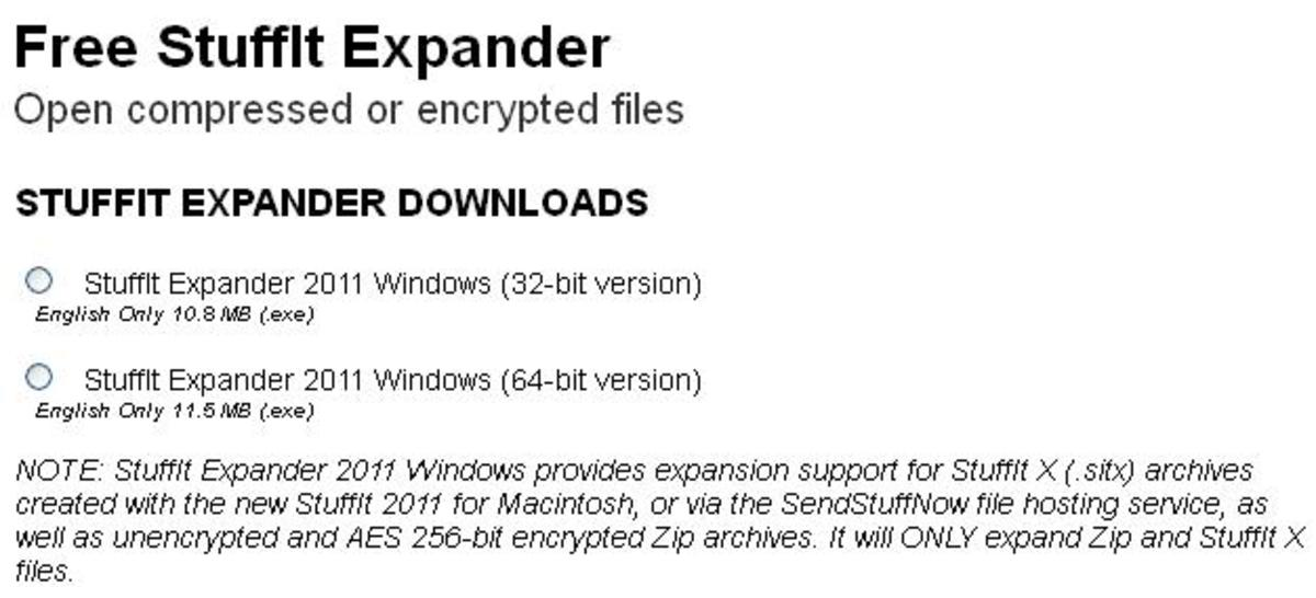 Select either the 32- or 64-bit version of StuffIt Expander 2011. Select the bit version that matches your operating system.