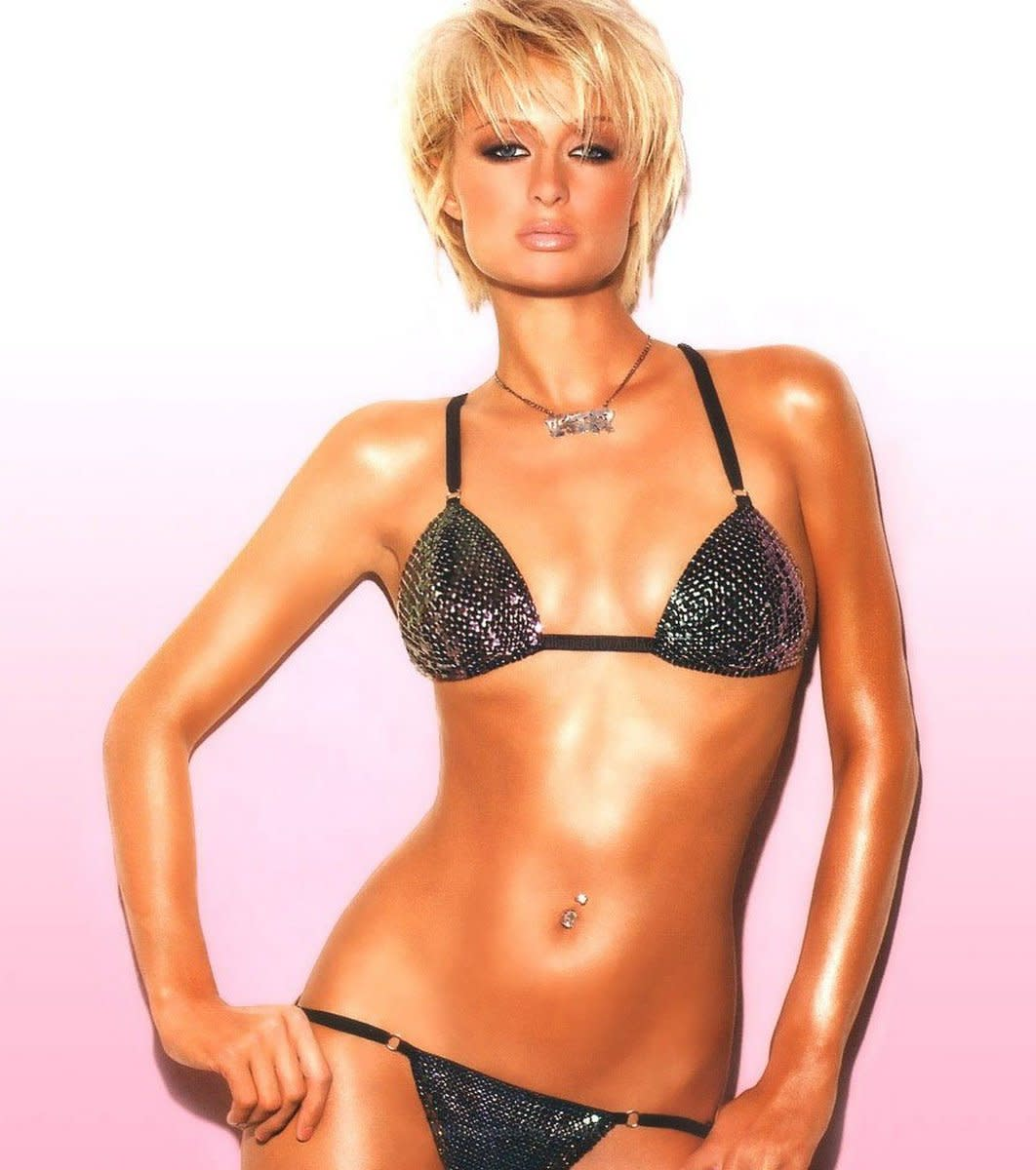 Paris Hilton in a shimmery black bikini