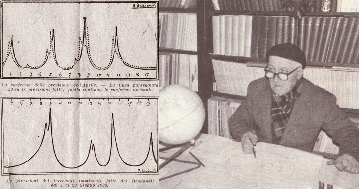 Bendandi Forecast Graphs for April and June 1926 and Bendandi with Parallelograms in his Study in the 1970s