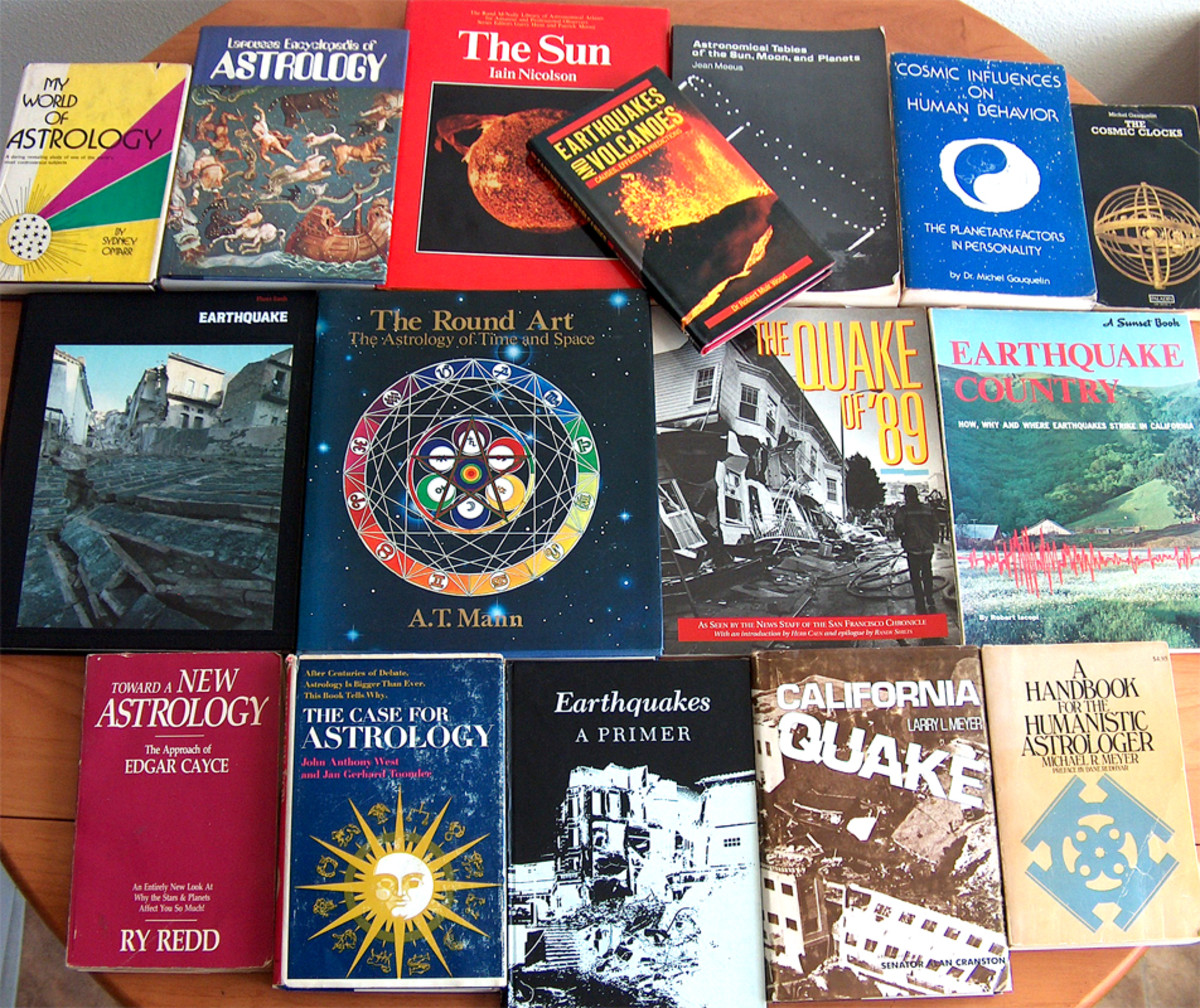 Some of the authors books on earthquakes, astrology, and astronomy.