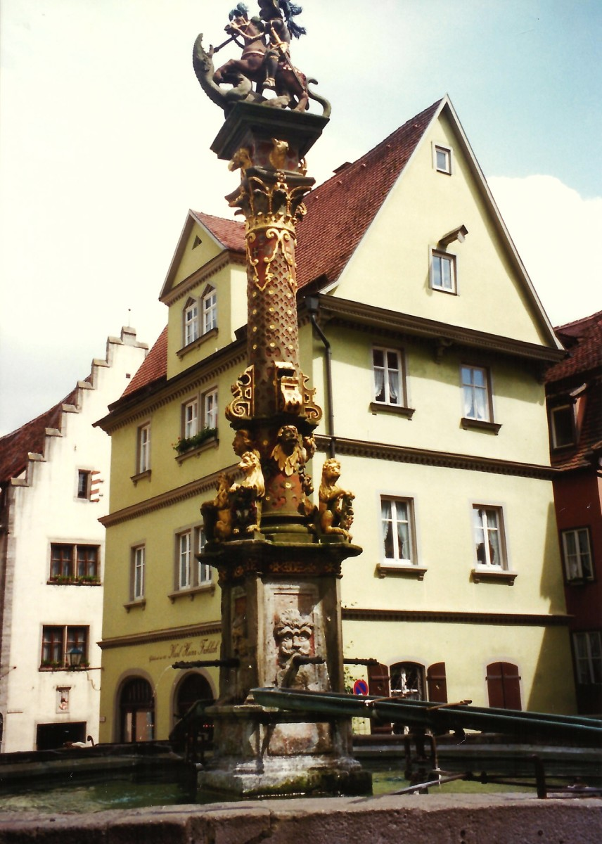Herterichs Well with St. George's figure in Rothenburg