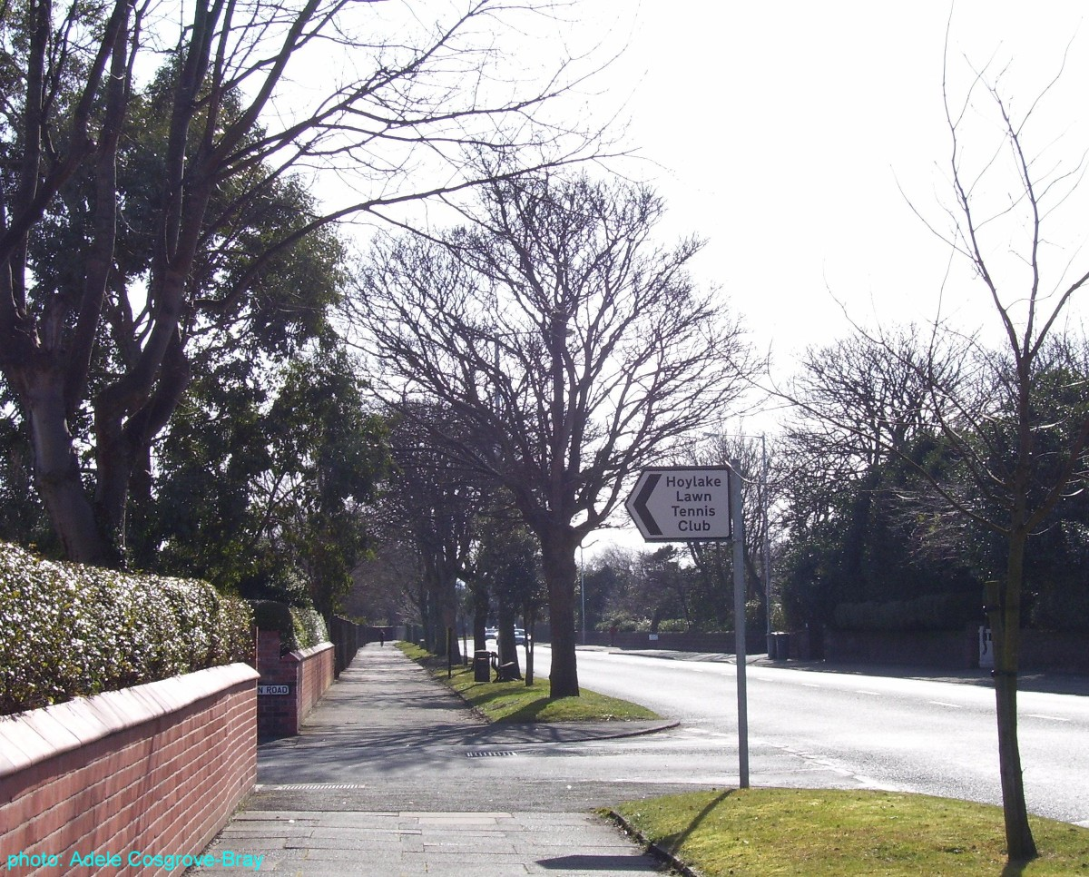 Meols Drive - and a sign for Hoylake Lawn Tennis club