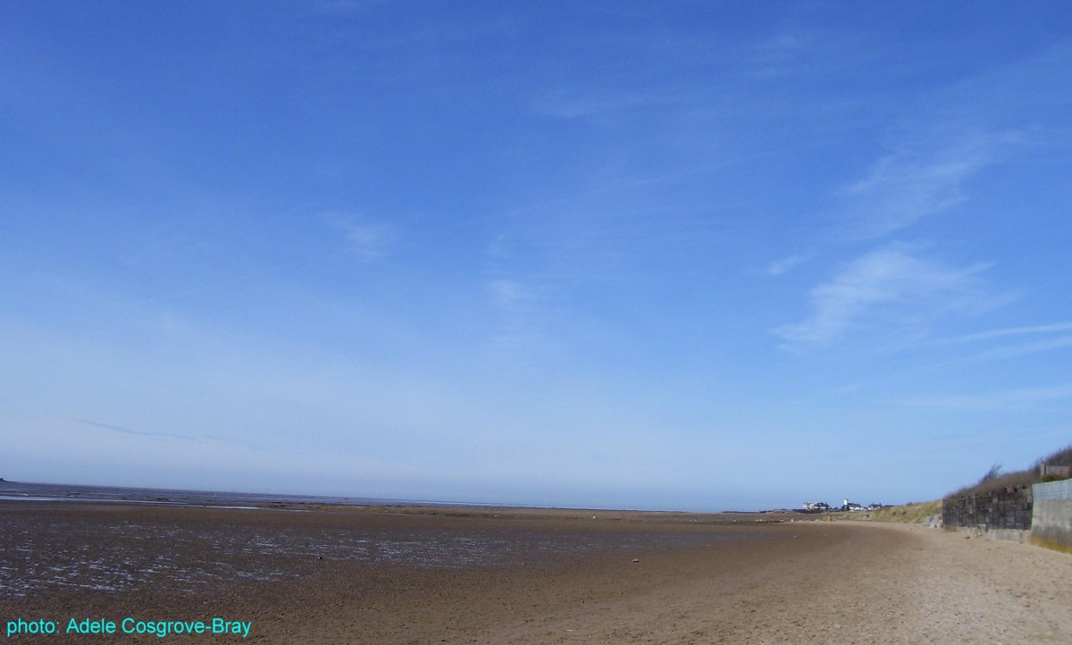 West Kirby beach, looking towards the dunes walk and Hoylake.