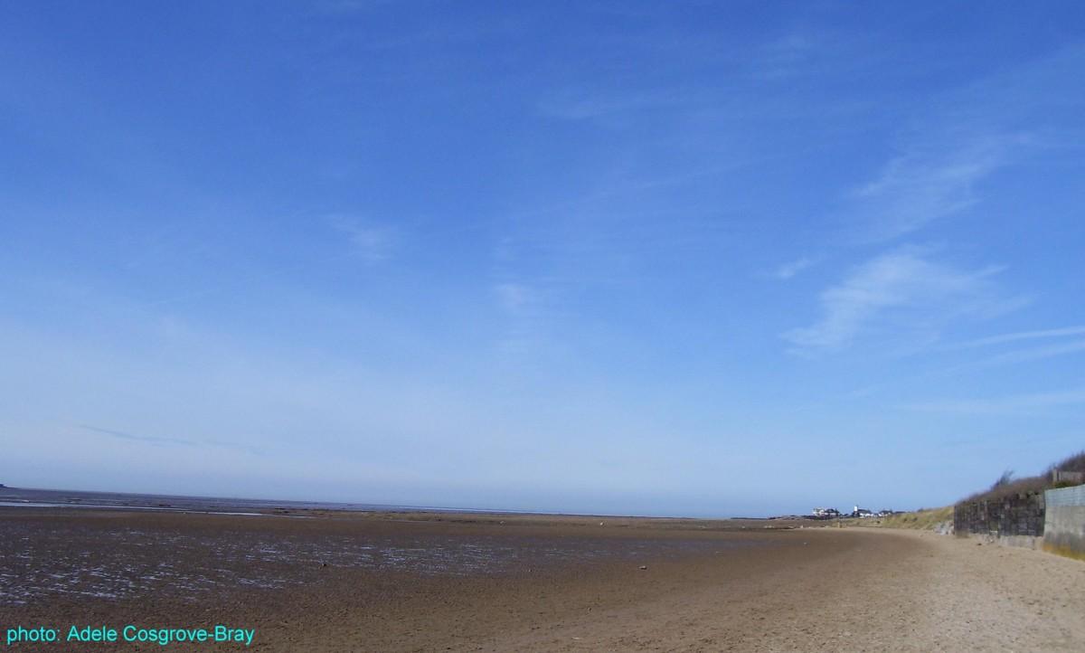 West Kirby beach, looking towards the dunes walk and Hoylake.
