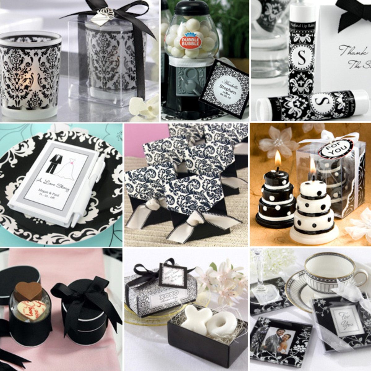The black and white wedding cakes in the photo are full of fun and elegant
