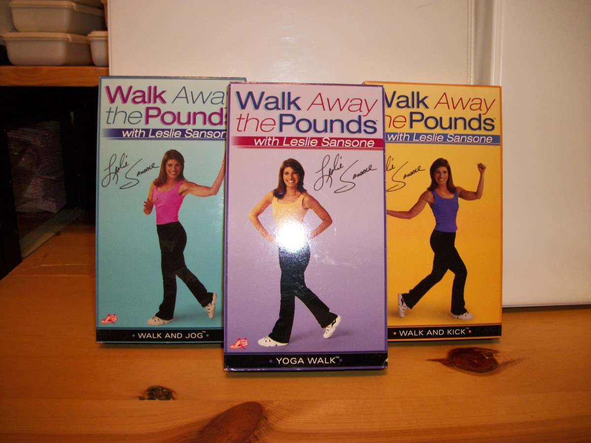 Leslie Sansone set.  Walk and Jog, Walk and Kick, and Yoga Walk.