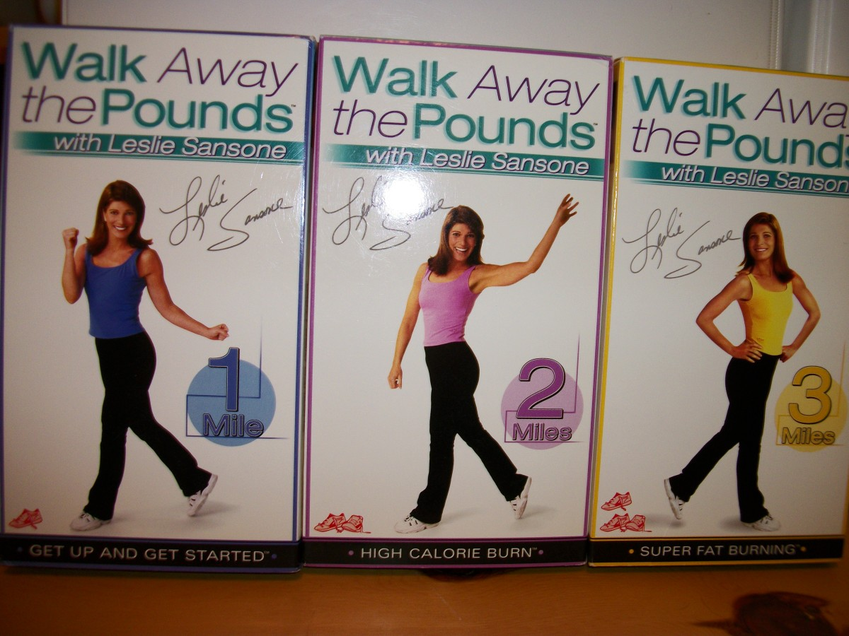 Leslie Sansone Walk Away the Pounds set, with 1, 2, and 3 mile walks.  Personal photo.