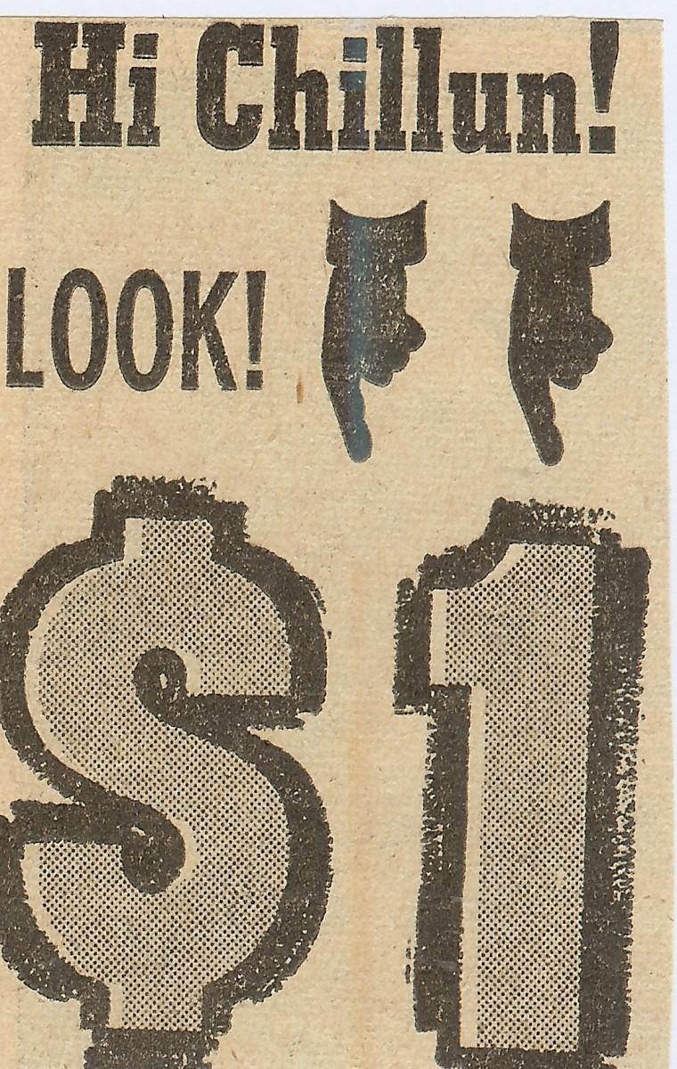 Newspaper clipping advertising the $1 sale of many items.