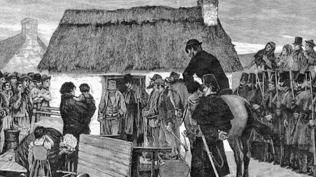 Evictions and Starvation of Irish People by The British Landlords