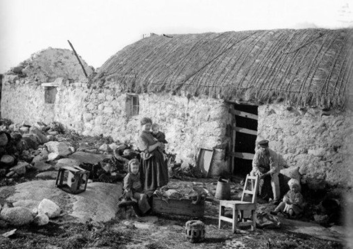 An Irish family that was evicted from their land in Donegal during the Irish Famine in 1848