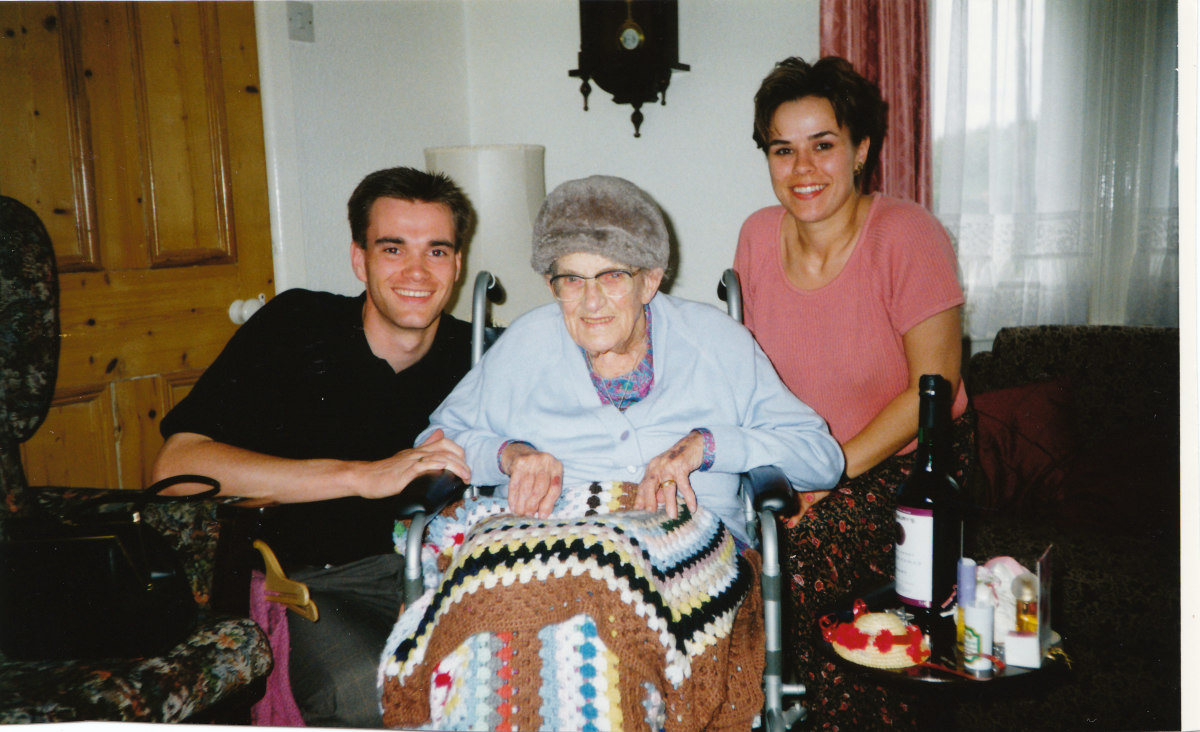 My wife and I with Lucy shortly before she passed away.