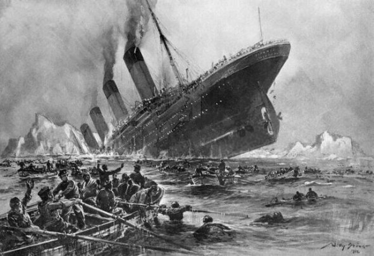Painting depicting the sinking of the Titanic
