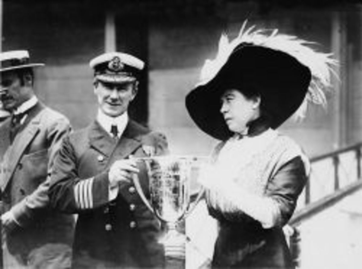 Margaret Brown, survivor of the Titanic disaster, presents a loving cup to  Captain Rostron.