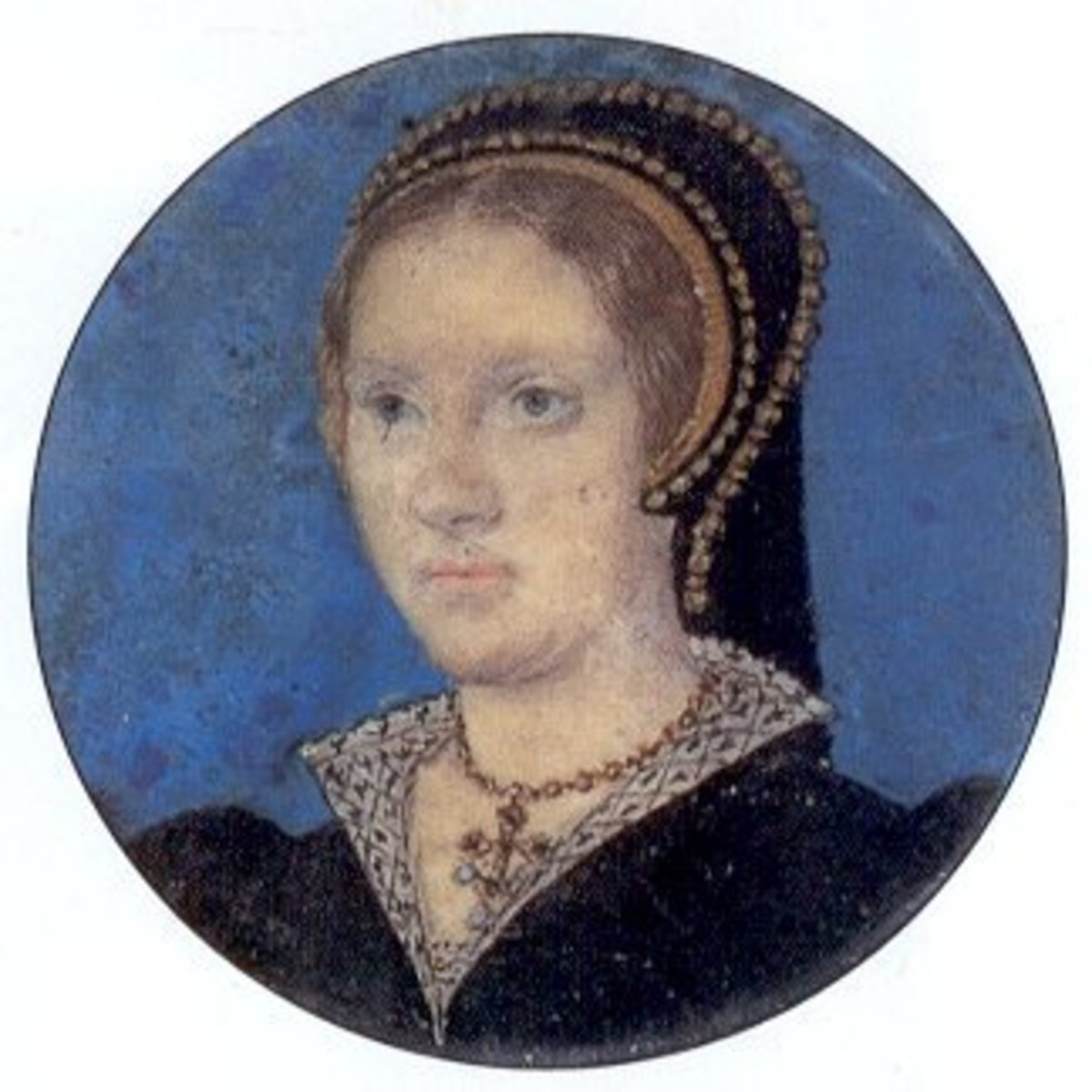 A miniature, c 1543, of Catherine Parr.