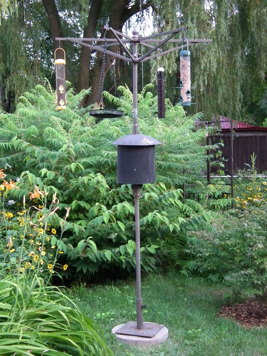 Learn how to turn an old patio umbrella into a Bird Feeder Pole!