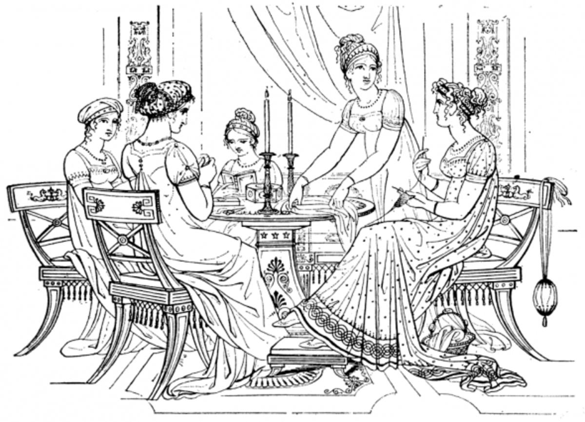 Vintage Dresses Coloring Page