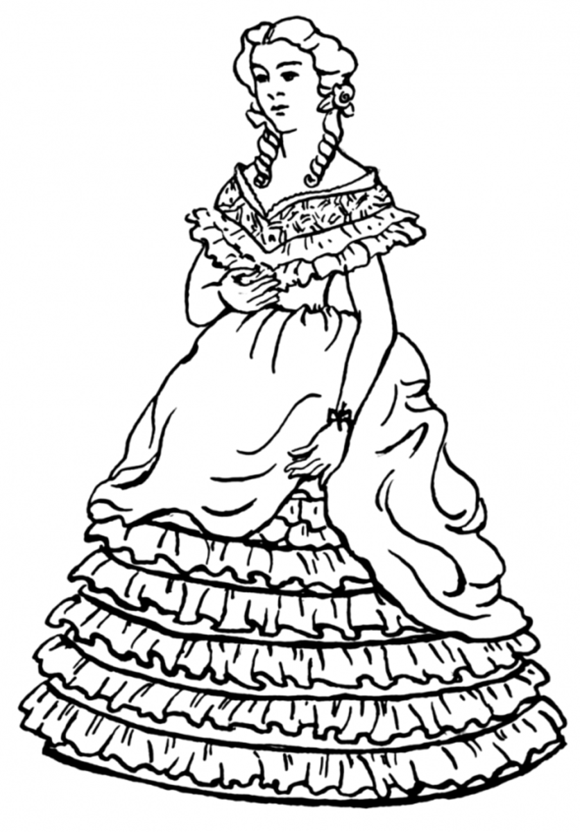 Free Coloring Pages Of Victorian Dress