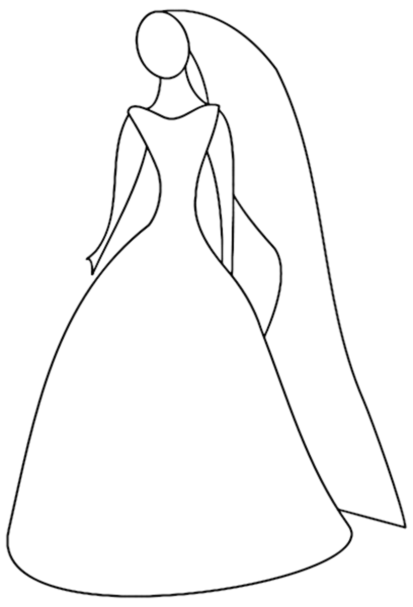Wedding Dress Coloring Pages Kids Wedding Gown Coloring Page