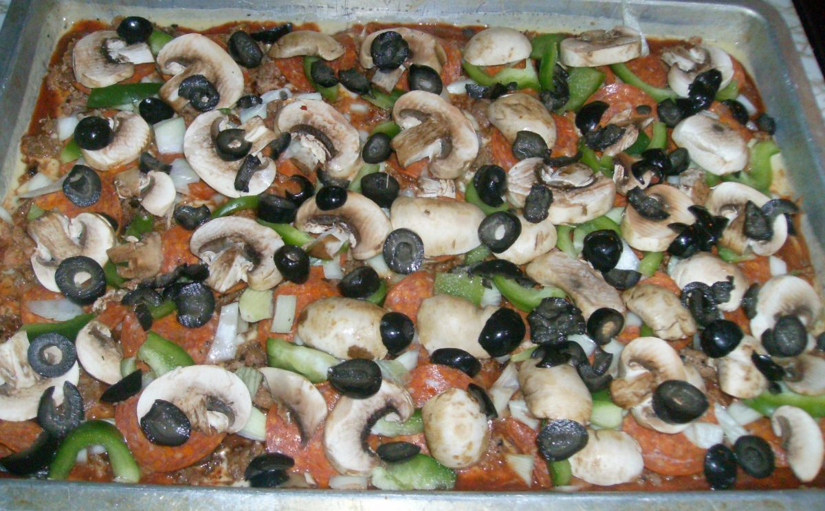 Add mushrooms, bell peppers, and black olives!