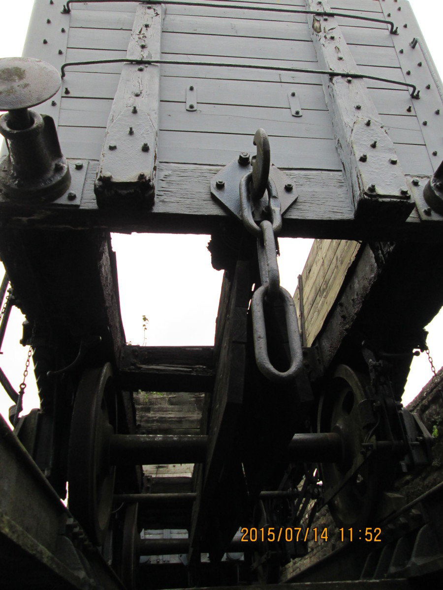 Looking from below at the open hopper doors