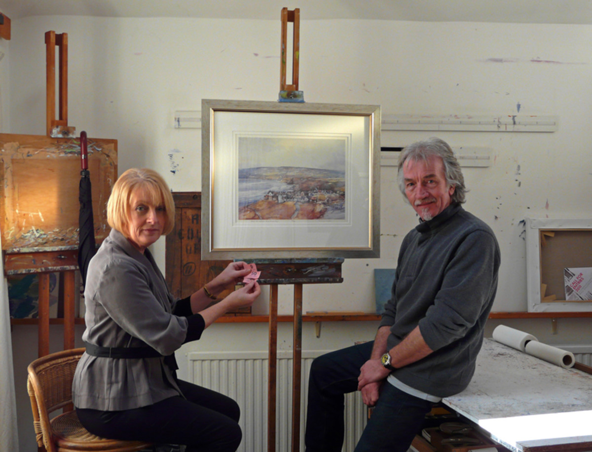 The artist Tom Harland, creator of the 4mm scale 'Bramblewick' layout  is seen here with Julie Abrahams,
