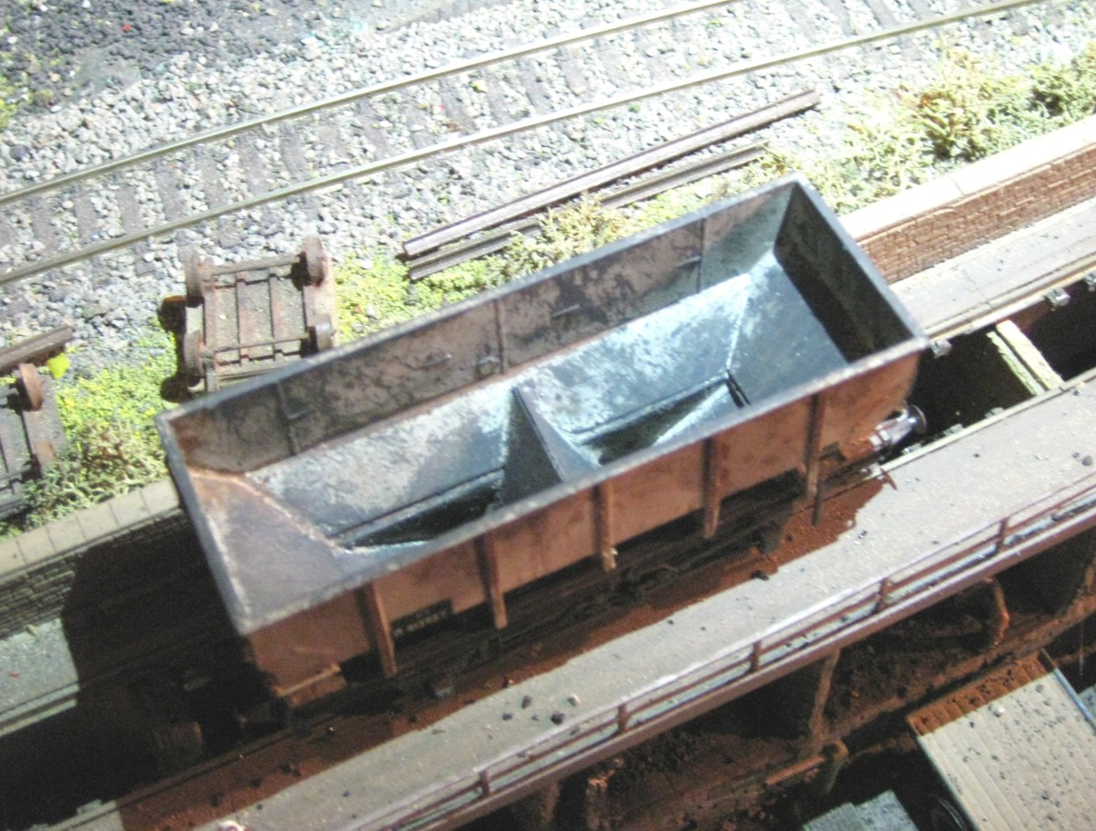 Bird's eye view of one of  Dgm 1/149 shown above. This one was modelled with the hopper doors in the 'open' position. When the load is inserted you can't tell this one from the others in a rake of wagons.