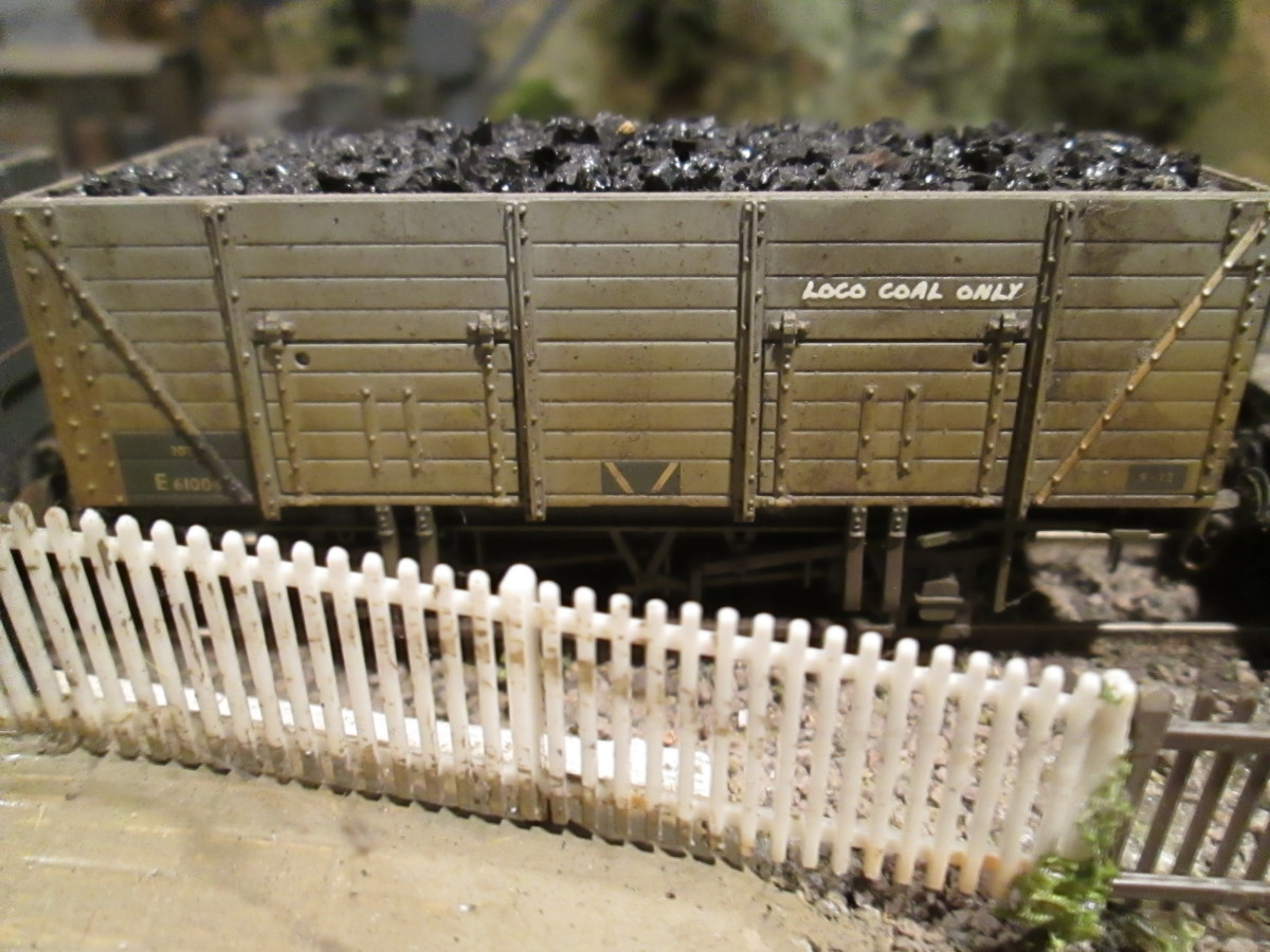 Off-the-shelf loco coal wagon with load, finished in BR grey with early ownership transfers and designation strips, 'Loco Coal Only'