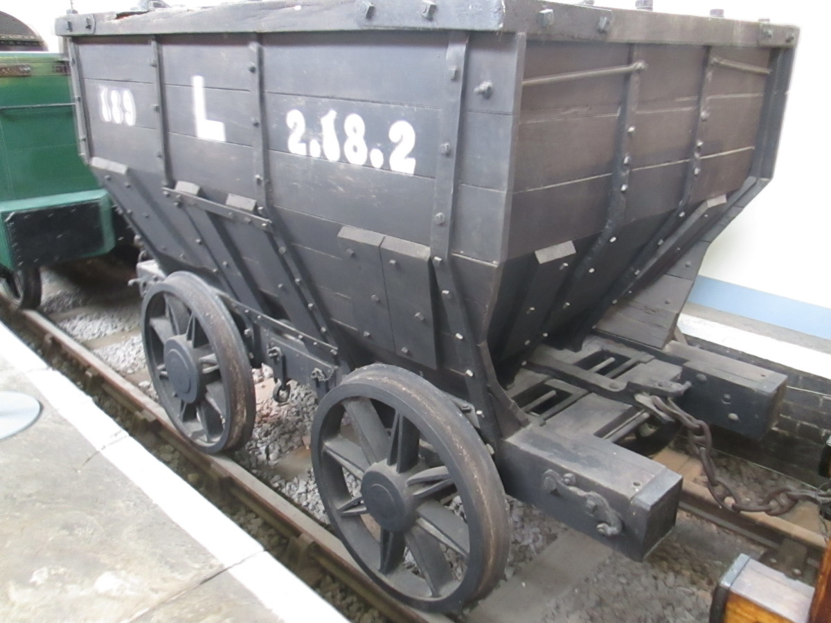 Great Grandad - chaldron wagon from S&DR days with 'dumb buffers'. Wagons 'butted' one another in transit. Buffers were introduced on goods and passenger stock by mid-19th Century, although earlier stock could be seen running, as at Seaham Harbour