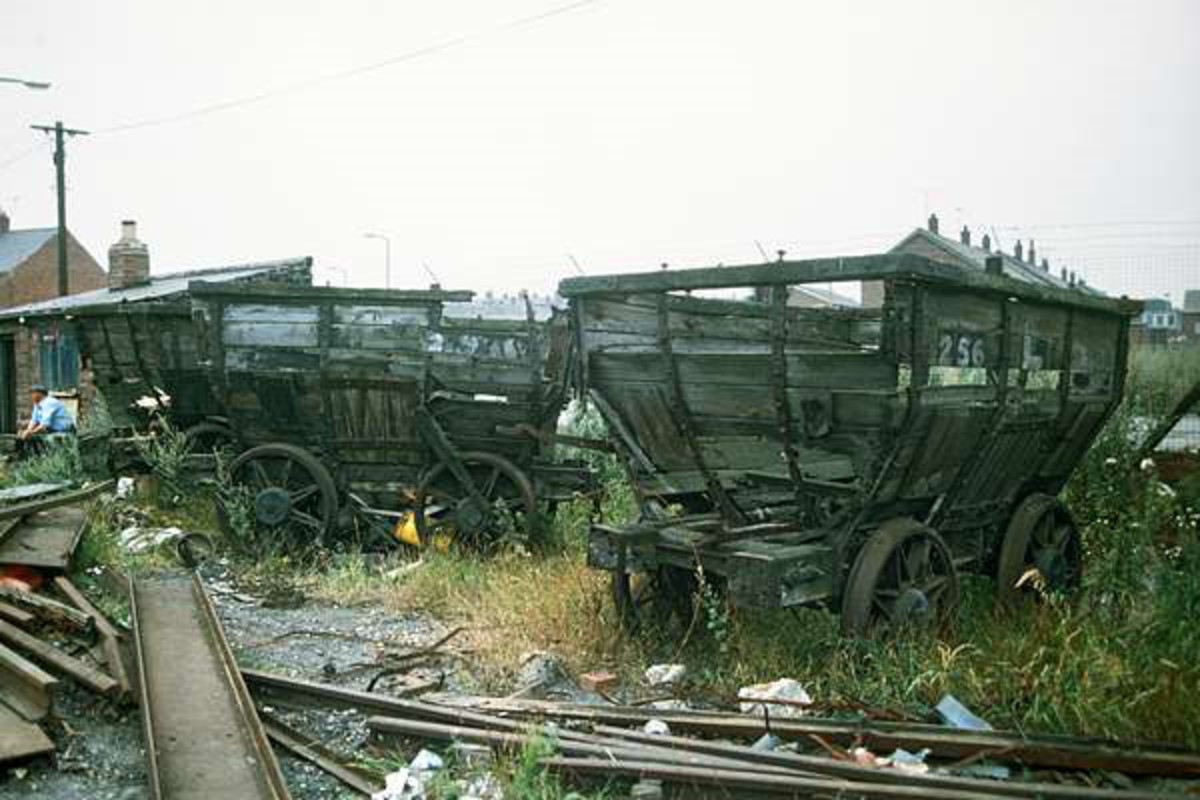 Derelict Londonderry Railway chaldron wagons seen at Seaham, County Durham in North Eastern England