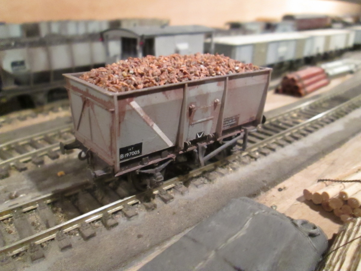 Modified Bachmann model of a British Railways' Diagram 1/100 slope-sided 16 ton end door wagon. Originally built by Charles Roberts of Wakefield, later wagons were built by McLellans of Glasgow in 1945 for the Ministry of Transport.