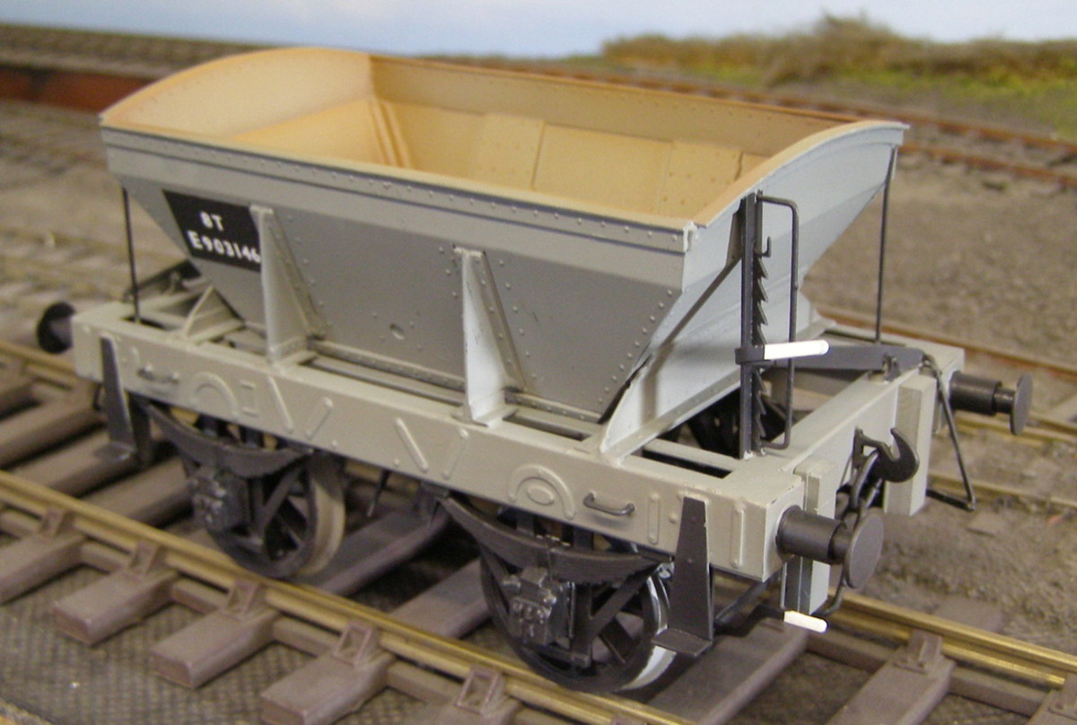 North Eastern Railway Diagram S1 8 ton Ironstone Hopper, fitted with end brakes - see ROPFAMR 26 on Self-acting Inclines. These wagons were introduced late in the 19th Century on Standard Gauge ironstone mine railways in the North East until 1920s