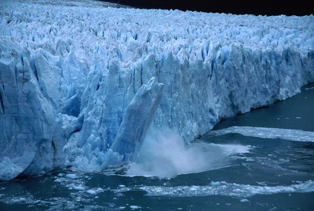A chunk of ice falls from the Perito Moreno Glacier in Argentina.