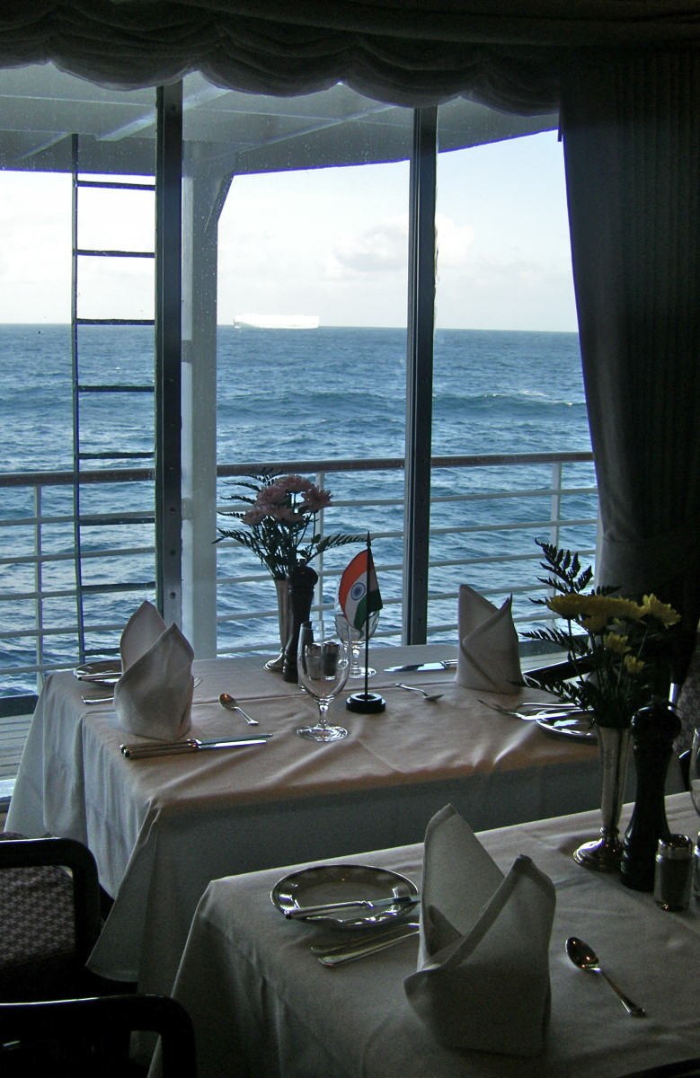 Dining at sea.