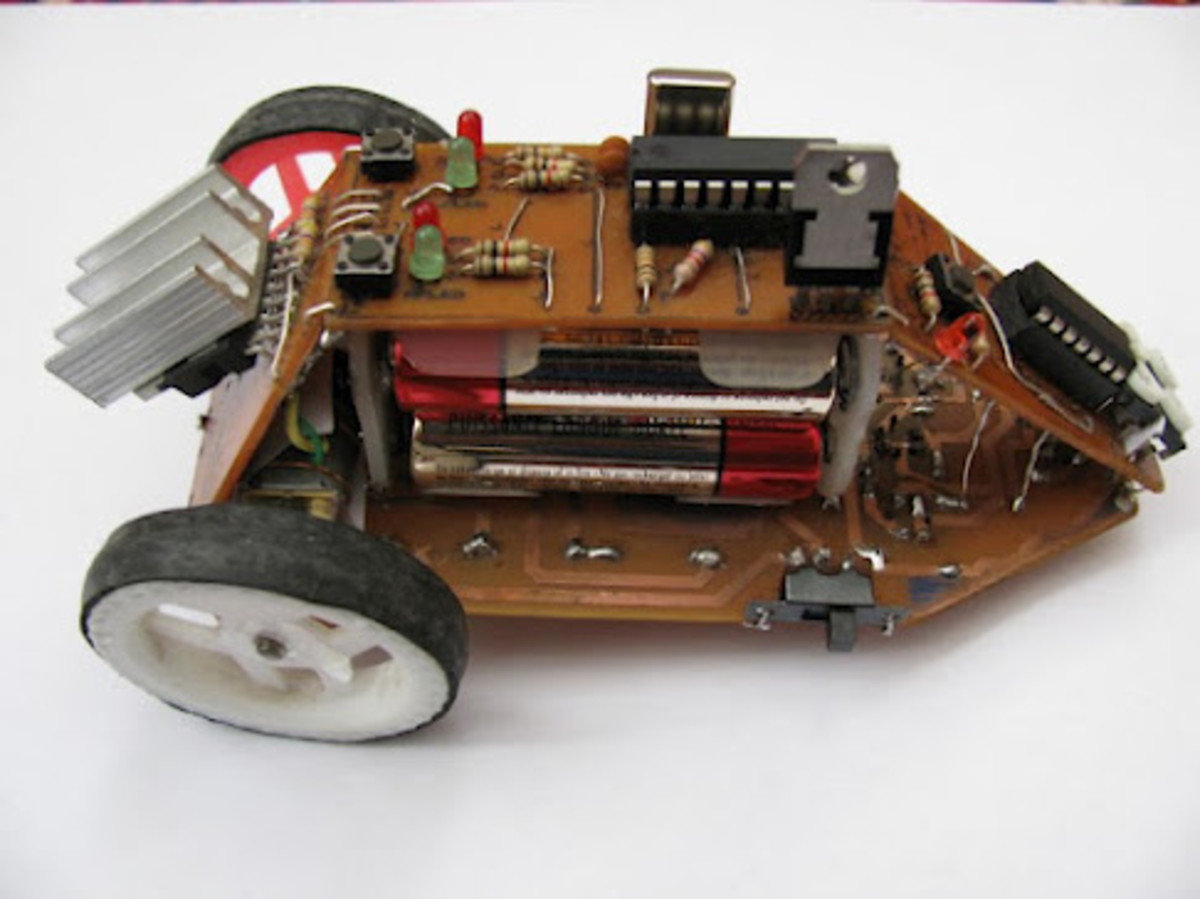 Top right view of the line following car robot