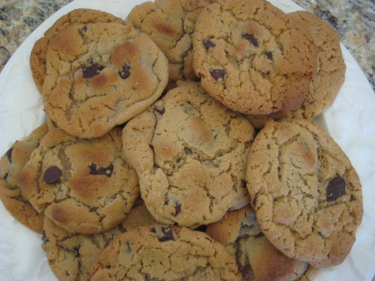 These are made from the same peanut butter cookie dough, but have chunks of semi-sweet chocolate mixed in. My husband and kids put these in the oven, and didn't bother shaping them with a fork.